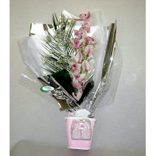 Detalle vara Orquídeas con envase y patucos.