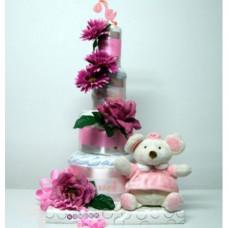 Canastilla Tarta con Flores